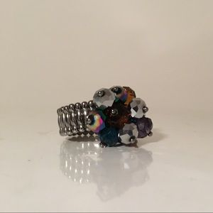 Stretch Silver Ring Jewel Tone Purple Brown Beads